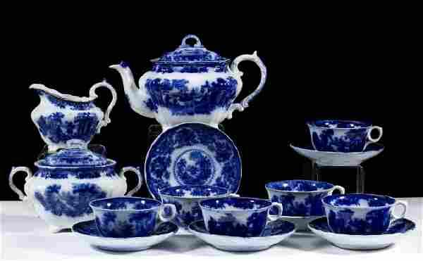 "ENGLISH STAFFORDSHIRE ""FAIRY VILLAS"" FLOW BLUE,"