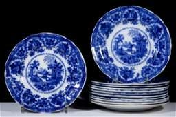 ENGLISH STAFFORDSHIRE FAIRY VILLAS FLOW BLUE