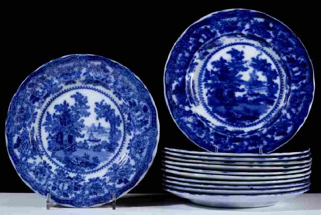 "ENGLISH STAFFORDSHIRE ""FAIRY VILLAS"", FLOW BLUE"
