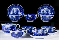 ENGLISH STAFFORDSHIRE FAIRY VILLAS FLOW BLUE