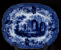 "ENGLISH STAFFORDSHIRE ""ANCIENT RUINS"" FLOW BLUE,"