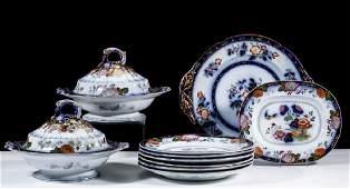 ENGLISH STAFFORDSHIRE PERSIANA GAUDY FLOW BLUE