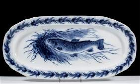 ENGLISH STAFFORDSHIRE FLOW BLUE TRANSFERPRINTED FISH