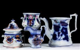 ENGLISH GAUDY FLOW BLUE IRONSTONE ARTICLES, LOT OF FOUR