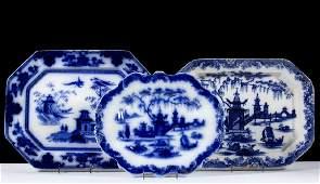 ENGLISH STAFFORDSHIRE CHINOISERIE MOTIF FLOW BLUE