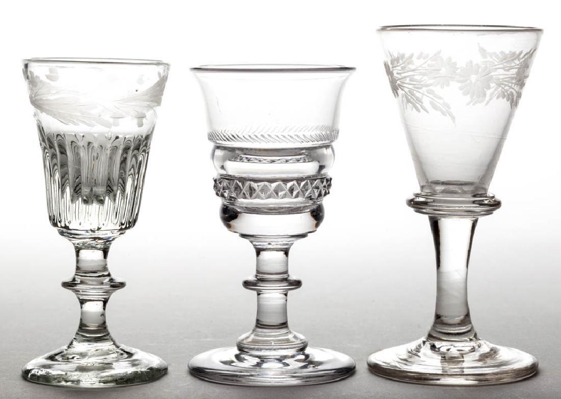 ASSORTED GLASS WINE GLASSES, LOT OF THREE