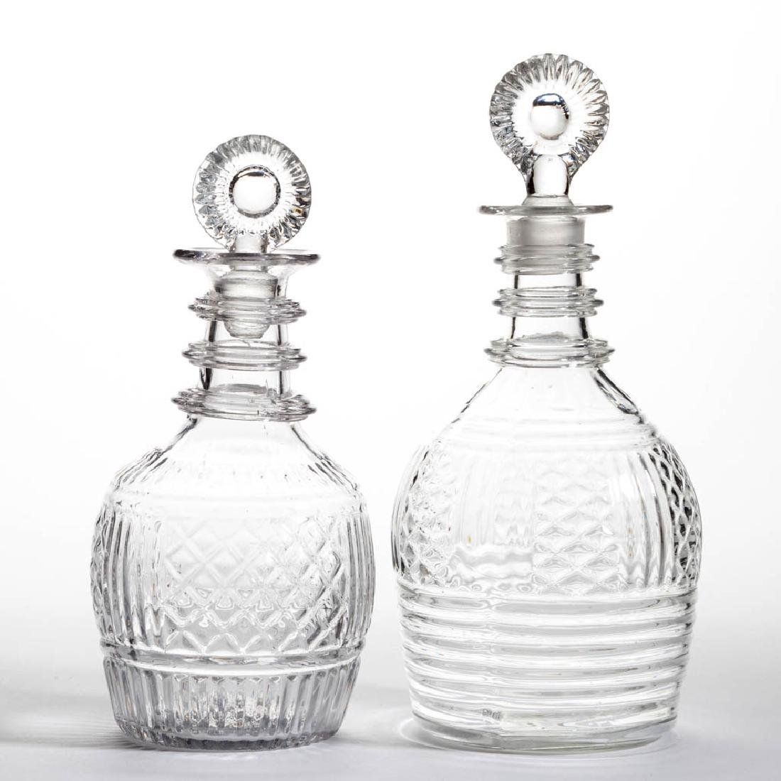 BLOWN-MOLDED THREE-MOLD DECANTERS, LOT OF TWO