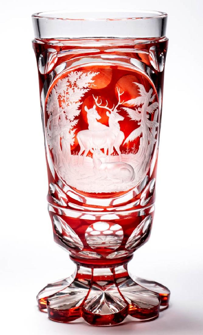 BOHEMIAN CUT AND ENGRAVED - RUBY-STAINED SPA BEAKER