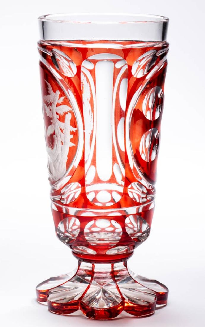 BOHEMIAN CUT AND ENGRAVED - RUBY-STAINED SPA BEAKER - 3