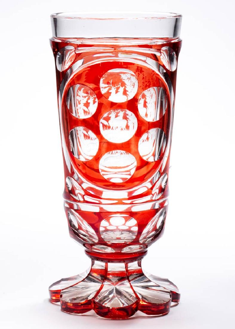 BOHEMIAN CUT AND ENGRAVED - RUBY-STAINED SPA BEAKER - 4