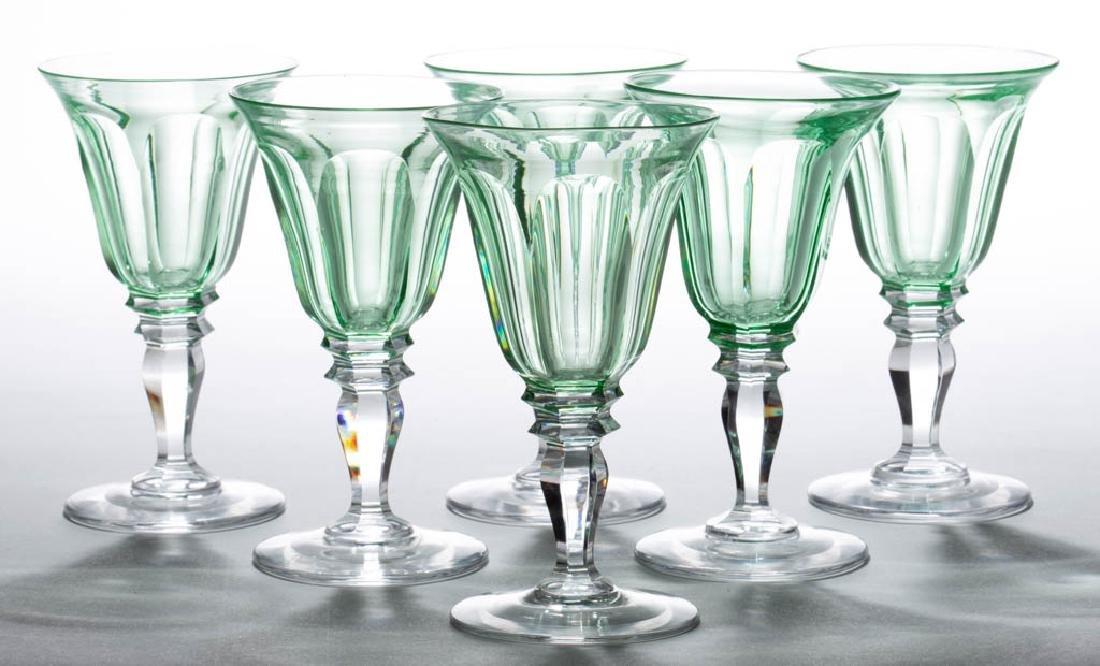 SIX-FLUTE CUT GLASS WINE GLASSES, LOT OF SIX