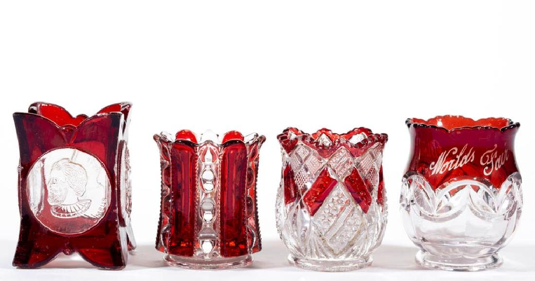 ASSORTED EAPG - RUBY-STAINED TOOTHPICK HOLDERS, LOT OF