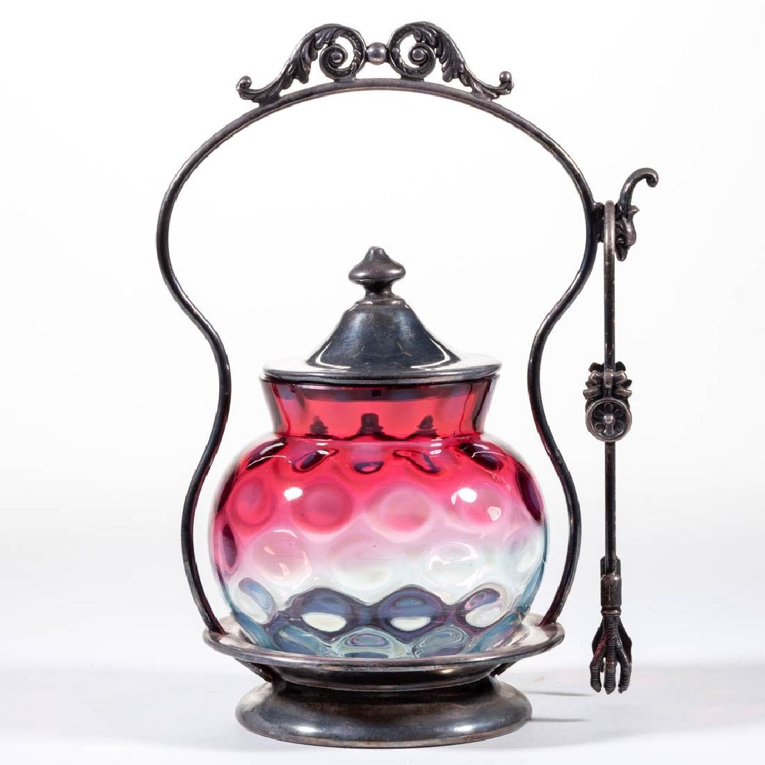 VICTORIAN COINSPOT OPALESCENT GLASS PICKLE CASTER