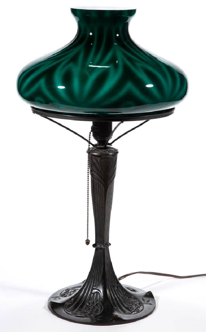 MIXED METAL AND GLASS TABLE LAMP