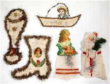 ASSEMBLED LITHOGRAPHED PAPER AND COTTON CHRISTMAS