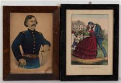 CURRIER  IVES HISTORICAL PRINTS LOT OF TWO