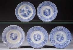 ENGLISH STAFFORDSHIRE BLUE TRANSFER-PRINTED CERAMIC CUP