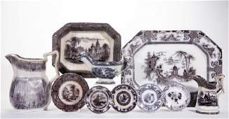 ENGLISH TRANSFER-PRINTED FLOW MULBERRY IRONSTONE
