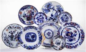 ENGLISH TRANSFER-PRINTED GAUDY FLOW BLUE IRONSTONE