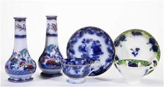 ENGLISH GAUDY FLOW BLUE IRONSTONE CERAMIC ARTICLES, LOT