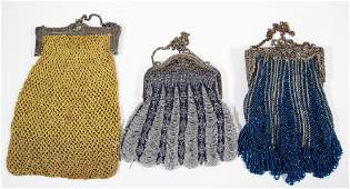 ASSORTED BEADED AND CROCHET LADY'S PURSES, LOT OF THREE