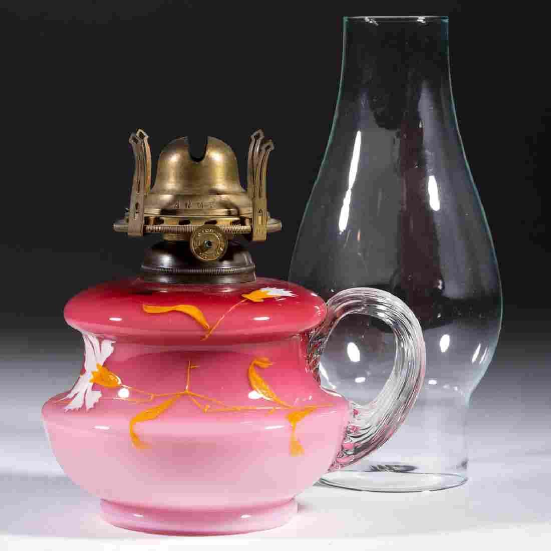 VICTORIAN PEACHBLOW-TYPE KEROSENE FINGER LAMP