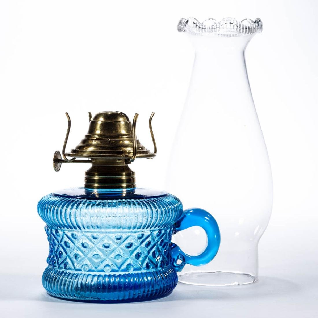 BEADED DIAMOND AND RIB BANDS KEROSENE FINGER LAMP