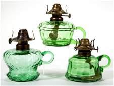 ASSORTED OPTIC PATTERNED KEROSENE FINGER LAMPS, LOT OF