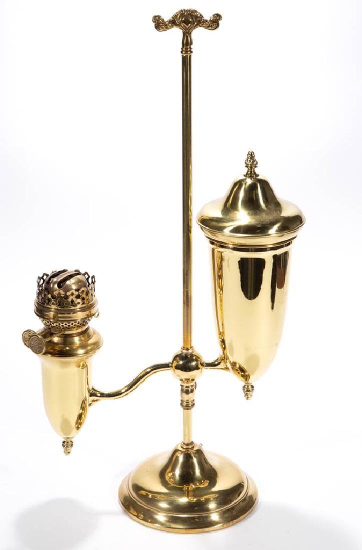 PLUME AND ATWOOD SINGLE-ARM KEROSENE STUDENT LAMP