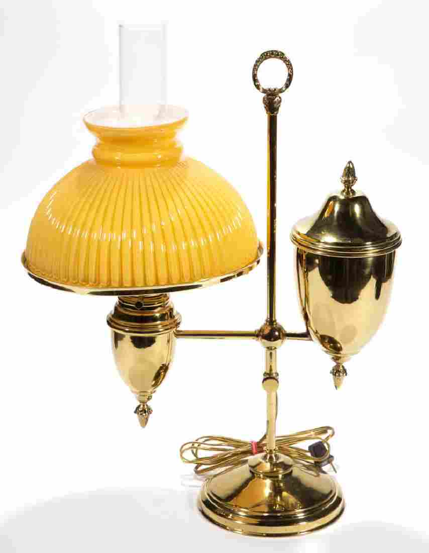 BRASS SINGLE-ARM KEROSENE STUDENT LAMP