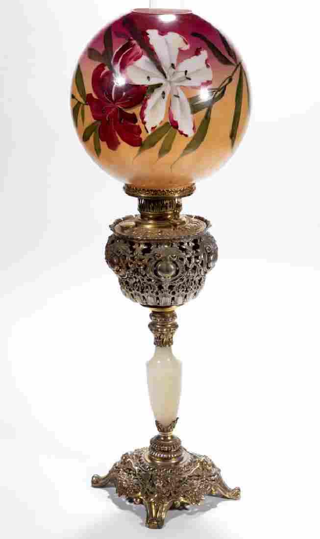 VICTORIAN CAST-METAL BANQUET LAMP