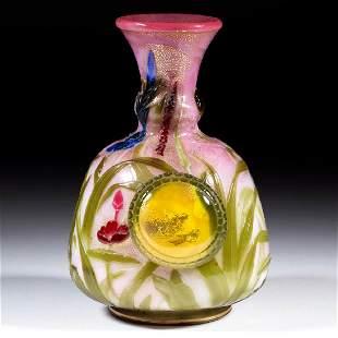 RARE THOMAS WEBB CHIN LUNG / APPLIED PADS ART GLASS