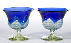 DURAND PULLED FEATHER ART GLASS SHERBETS, LOT OF TWO