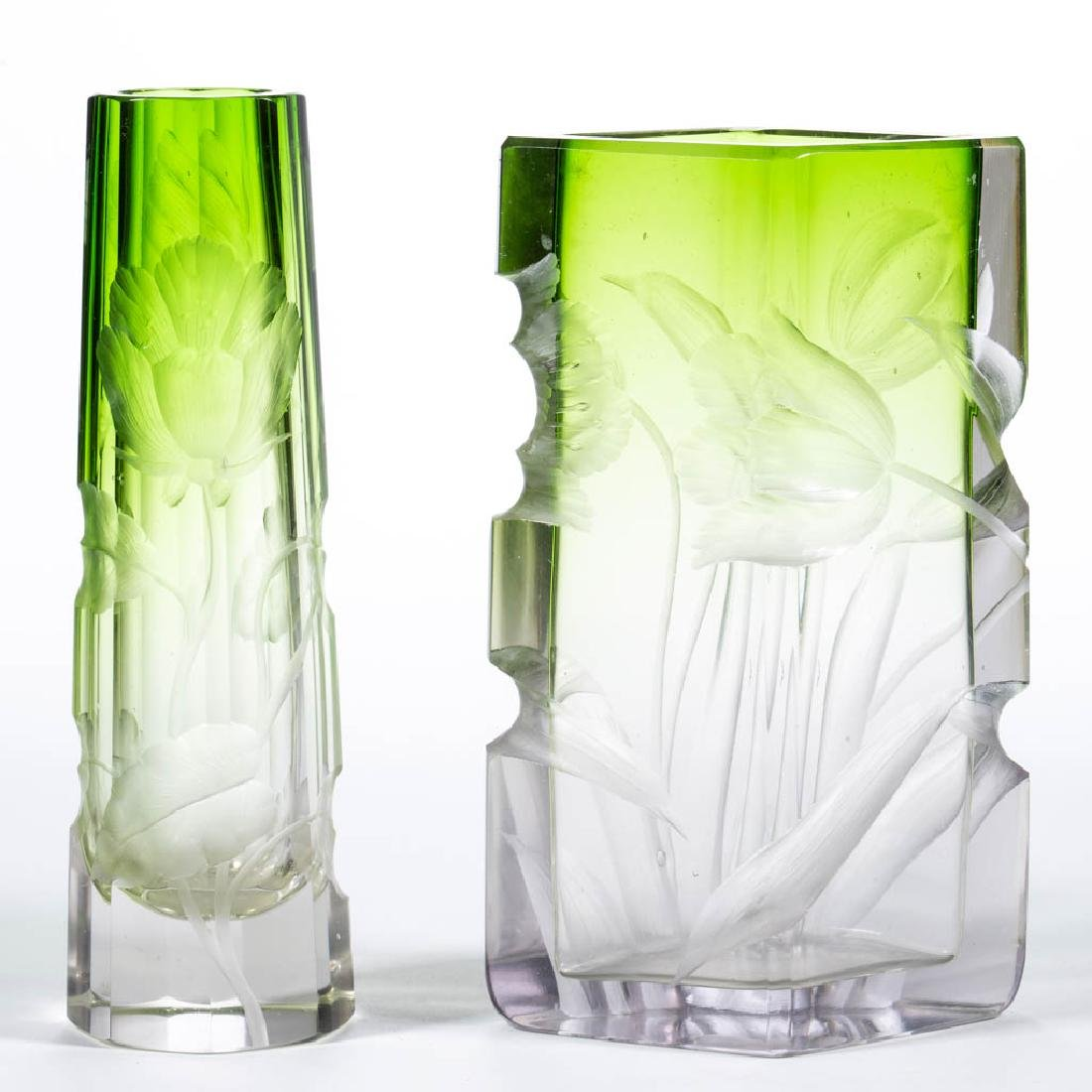 MOSER INTAGLIO CUT ART GLASS VASES, LOT OF TWO