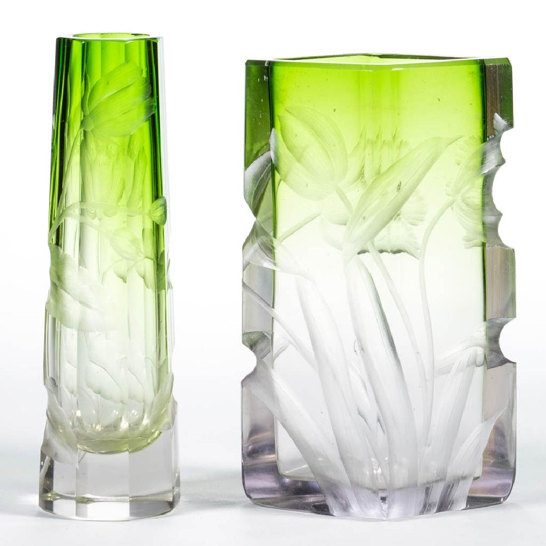 MOSER INTAGLIO CUT ART GLASS VASES, LOT OF TWO - 2