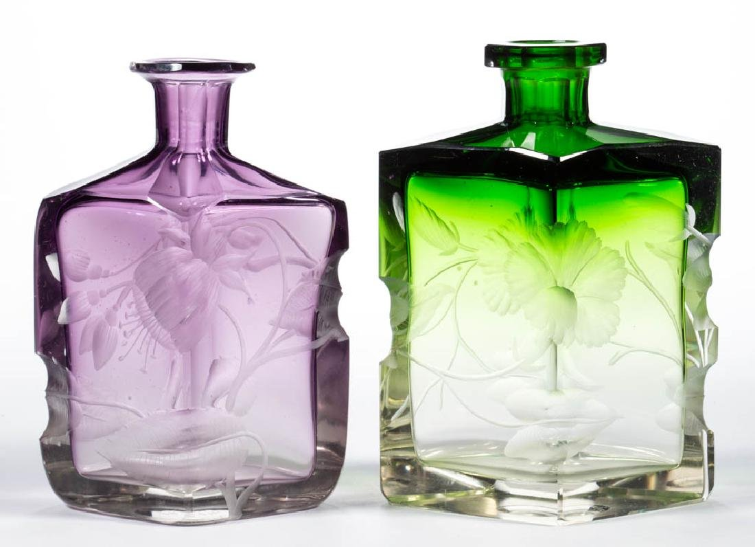MOSER INTAGLIO CUT ART GLASS BOTTLES, LOT OF TWO