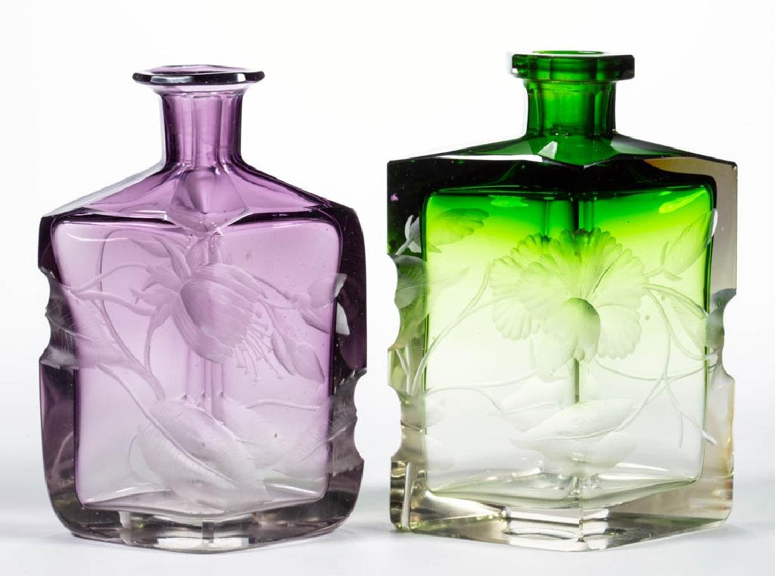 MOSER INTAGLIO CUT ART GLASS BOTTLES, LOT OF TWO - 2