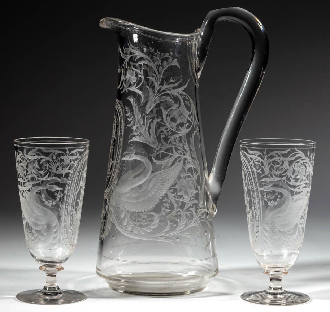 EUROPEAN FREE-BLOWN AND ENGRAVED GLASS THREE-PIECE