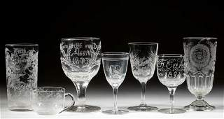 ASSORTED FREE-BLOWN AND ENGRAVED GLASS DRINKING