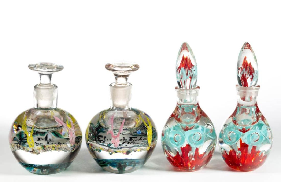 ASSORTED GLASS PAPERWEIGHT INKWELLS / PERFUME BOTTLES,