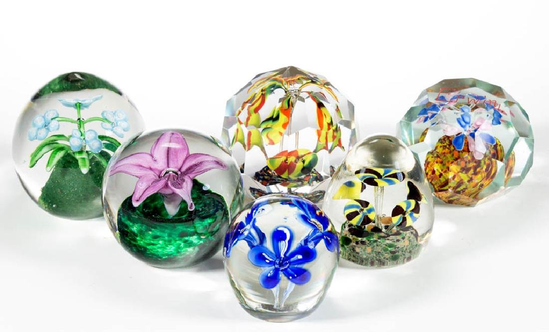 ASSORTED FLORAL GLASS PAPERWEIGHTS, LOT OF SIX