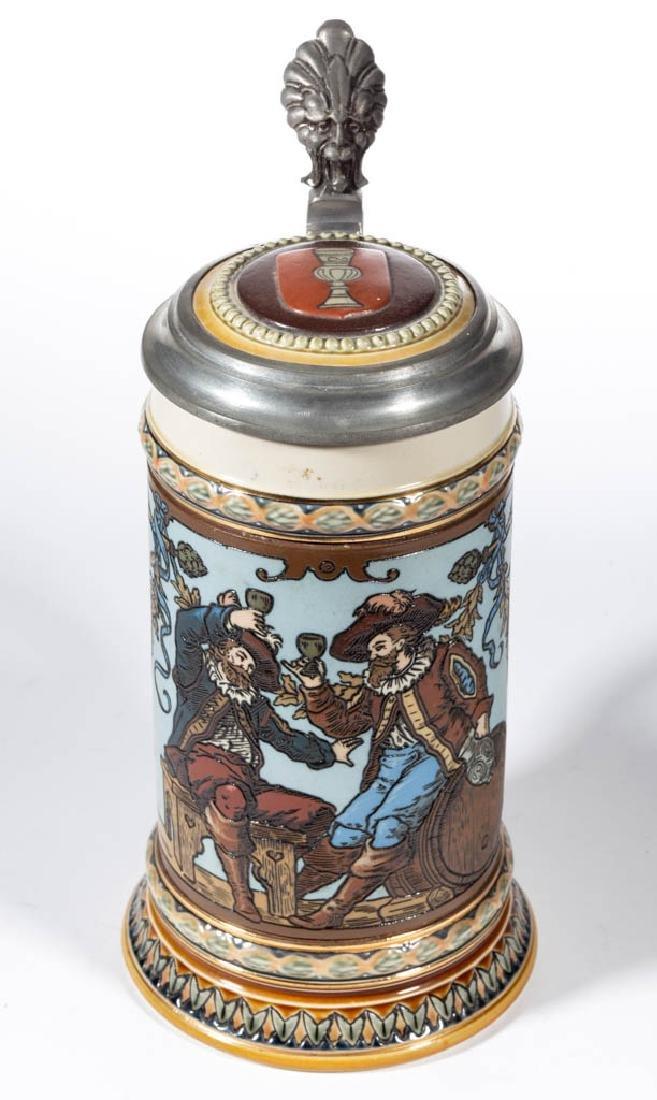 GERMAN METTLACH CAVALIERS DRINKING CERAMIC STEIN