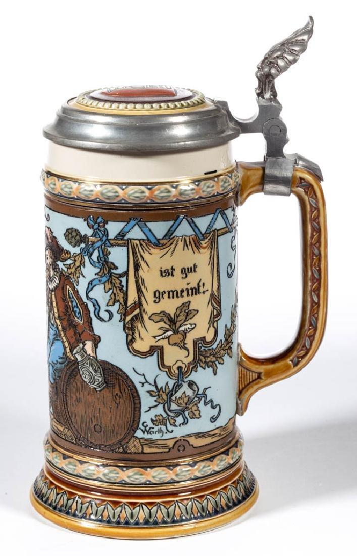 GERMAN METTLACH CAVALIERS DRINKING CERAMIC STEIN - 2