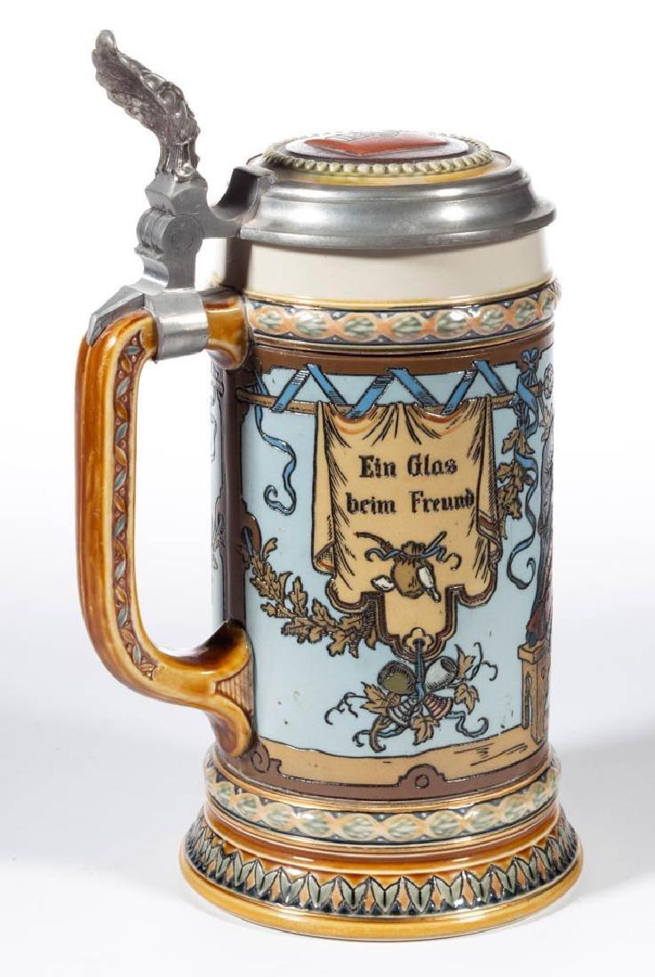 GERMAN METTLACH CAVALIERS DRINKING CERAMIC STEIN - 3