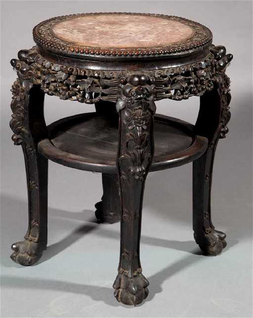 Chinese carved wood and marble top table