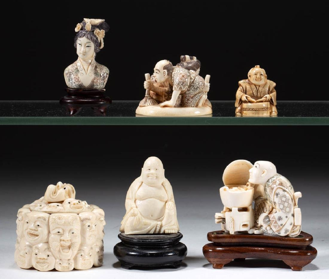 CHINESE / JAPANESE CARVED BONE FIGURES, LOT OF SIX