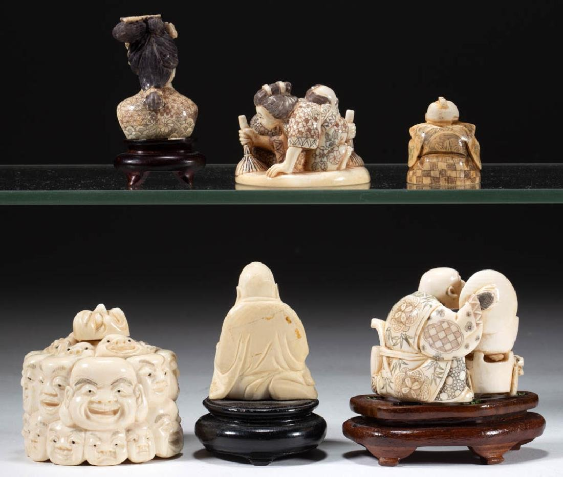 CHINESE / JAPANESE CARVED BONE FIGURES, LOT OF SIX - 2
