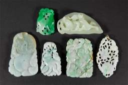 CHINESE CARVED JADE PENDANTS / PLAQUES, LOT OF SIX