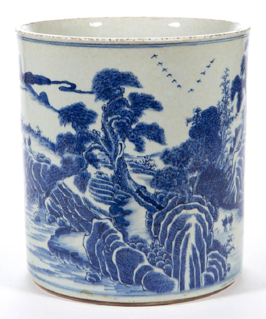 CHINESE EXPORT QING-STYLE PORCELAIN BLUE AND WHITE
