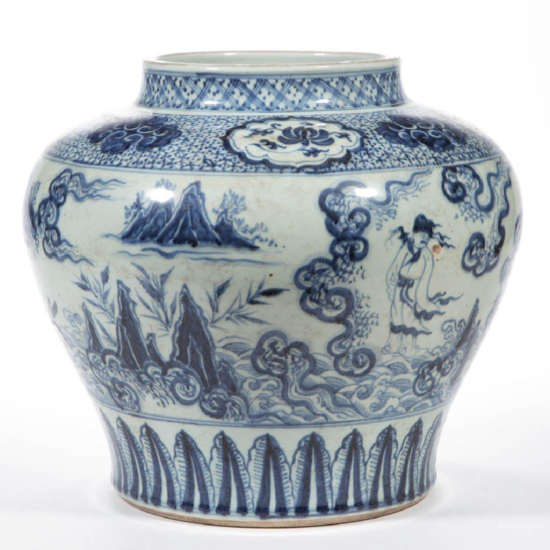 CHINESE EXPORT QING-STYLE PORCELAIN BLUE AND WHITE JAR - 2